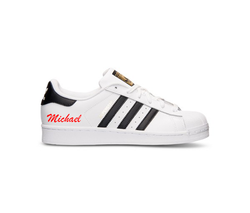 Name Decal on Adidas Superstar Sneaker