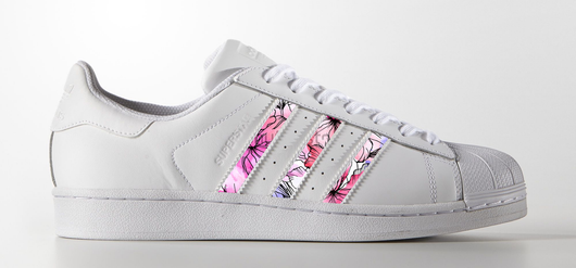 Floral Stripes on Adidas Superstar Sneaker