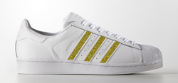 Gold Stripes on Adidas Superstar Sneaker