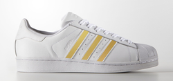 Gold Glossy Stripes on Adidas Superstar Sneaker