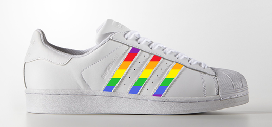 Rainbow Stripes on Adidas Superstar Sneaker