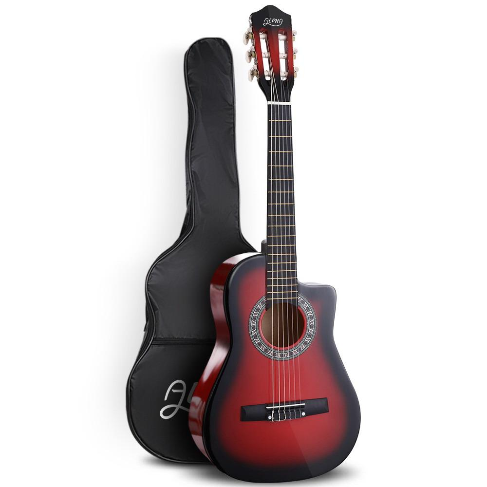 Alpha 34 Inch Guitar Classical Acoustic Kids Gift Children 1/2 Size Red - Kids Decor Factory