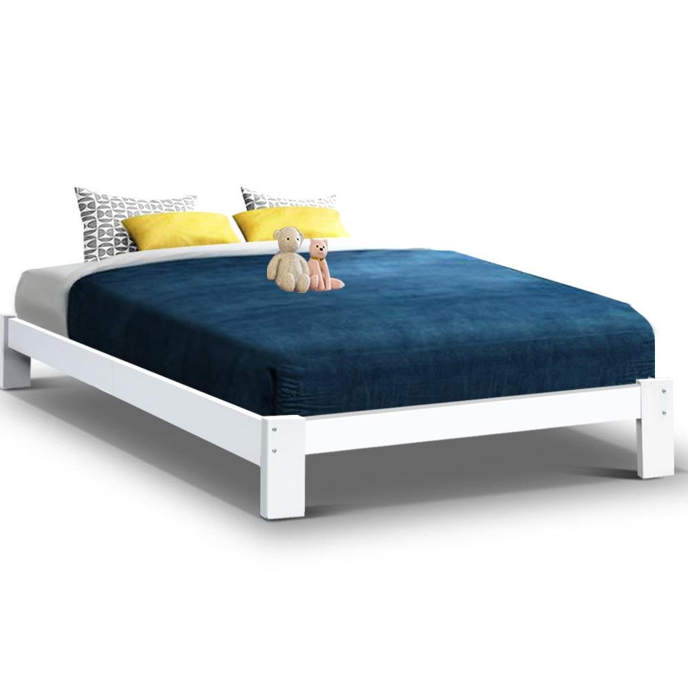 Artiss Bed Frame Double Size Wooden Bed Base JADE Timber Foundation Mattress - Kids Decor Factory