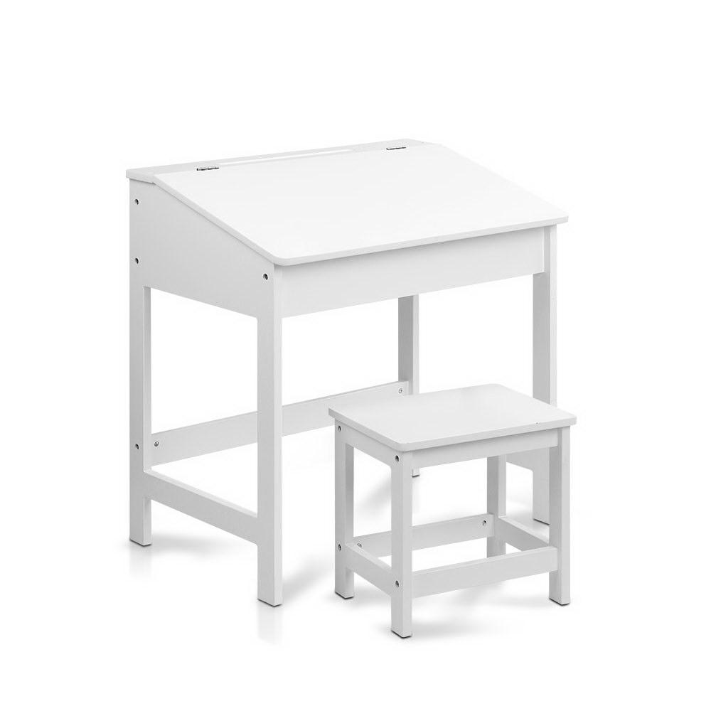 Artiss Kids Lift-Top Desk and Stool - White - Kids Decor Factory