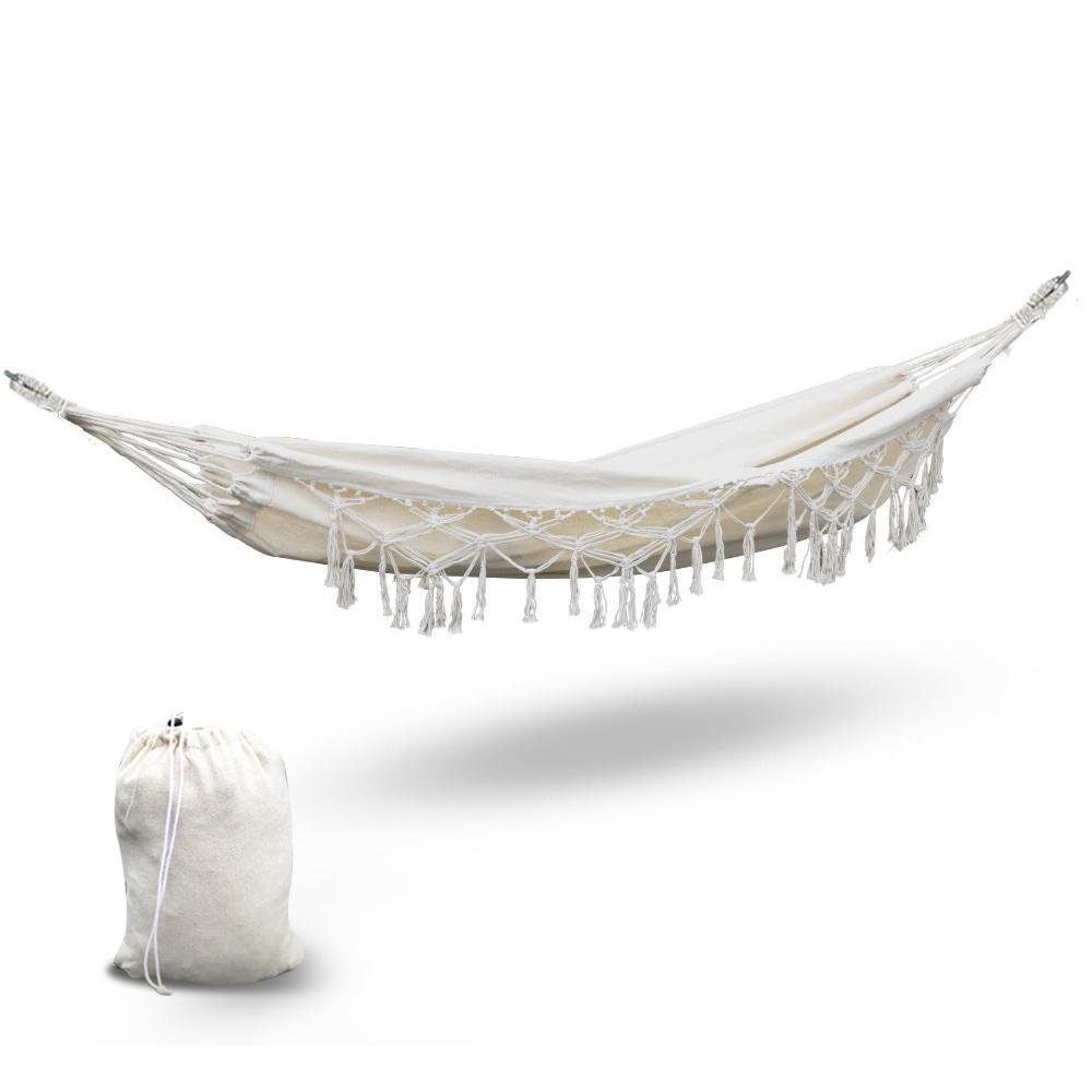 Gardeon Hanging Tassel Hammock Swing Bed Cream - Kids Decor Factory