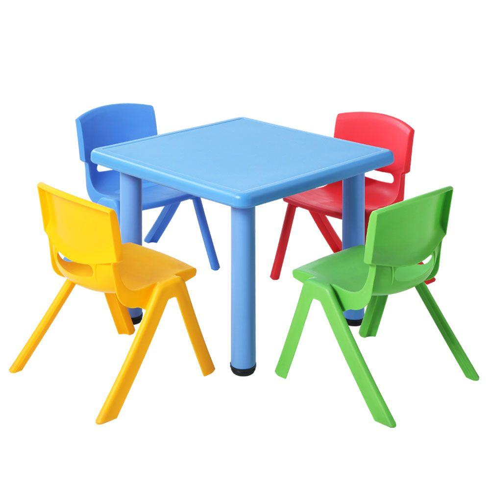 Keezi 5 Piece Kids Table and Chair Set - Blue - Kids Decor Factory