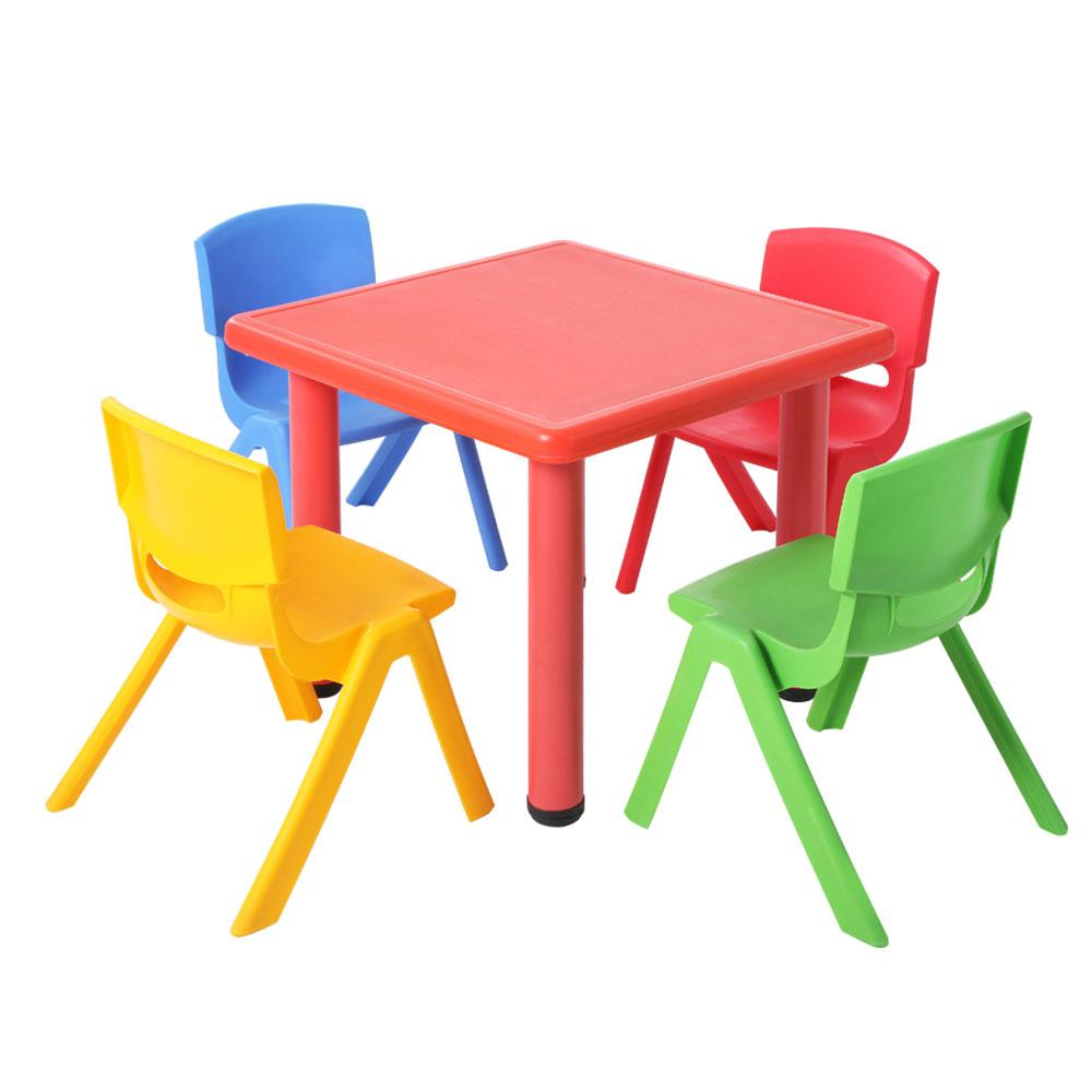 Keezi 5 Piece Kids Table and Chair Set - Red - Kids Decor Factory
