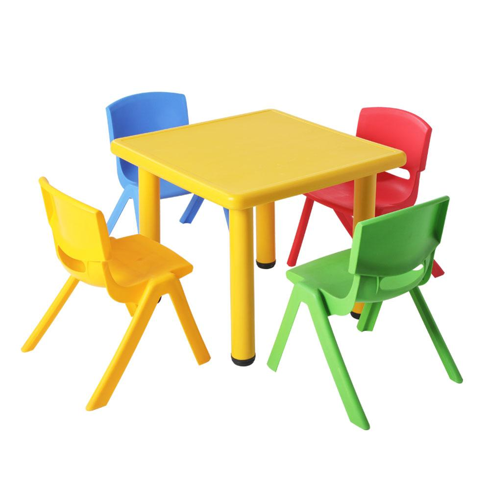Keezi 5 Piece Kids Table and Chair Set - Yellow - Kids Decor Factory