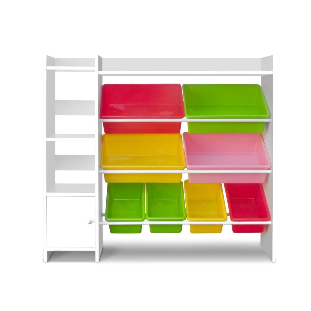 Keezi 8 Bins Kids Toy Box Storage Organiser Display Bookshelf - Kids Decor Factory