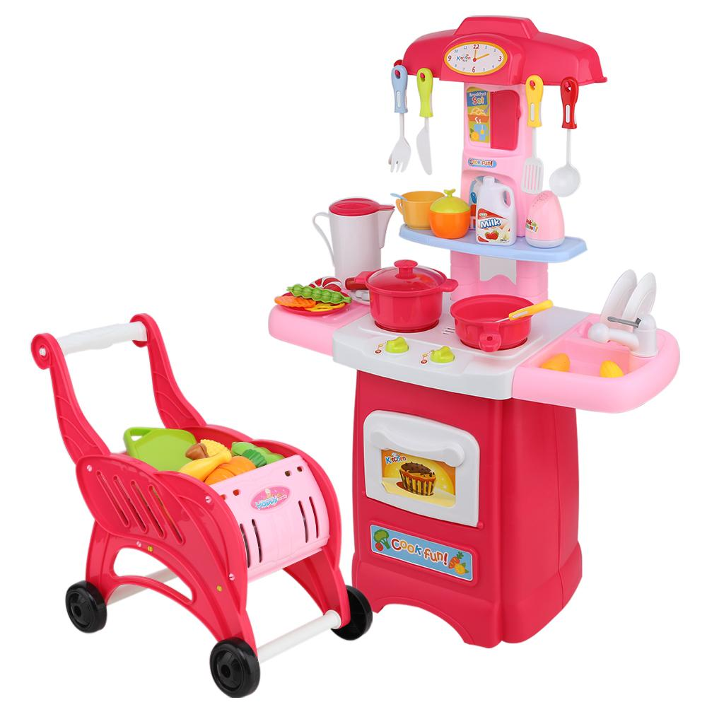 Keezi Kids Kitchen and Trolley Playset - Red - Kids Decor Factory