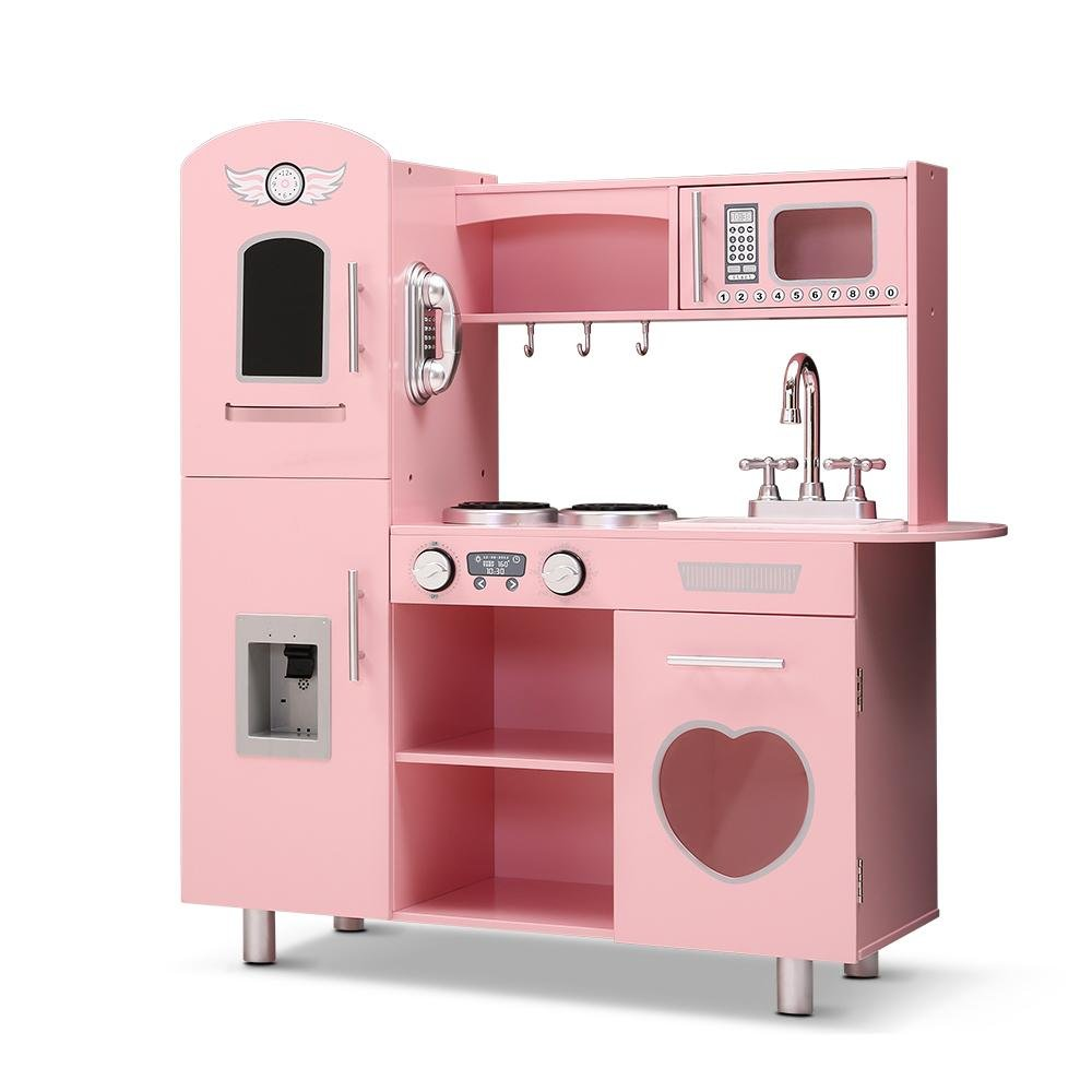 Keezi Kids Kitchen Set Wooden Pink - Kids Decor Factory