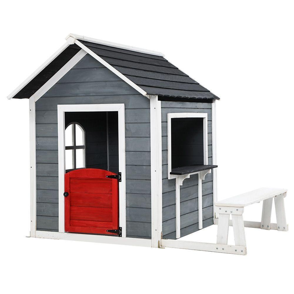Kids Cubby House Outdoor Pretend Play Bench Wooden Playhouse - Kids Decor Factory