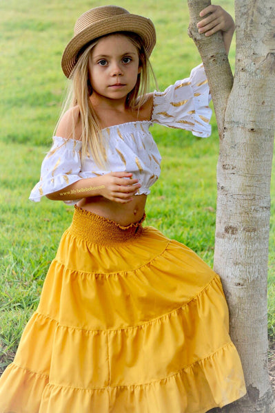 SET - HIPPY SKIRT MUSTARD & WHITE PEASANT