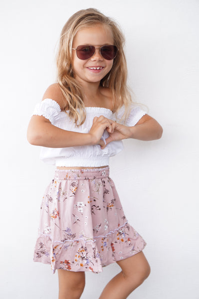 SET - BOHO GIRL SKIRT AND WHITE PEASANT