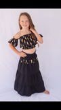 SALE - PEASANT TOP BABY DOLL BLACK FEATHER