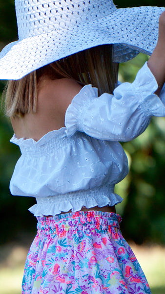PEASANT TOP FRILL SLEEVE IN WHITE EMBROIDERY ANGLAIS