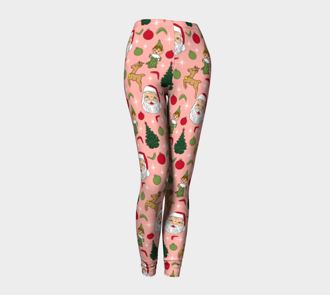 Kitschy Pink Christmas Adult Leggings
