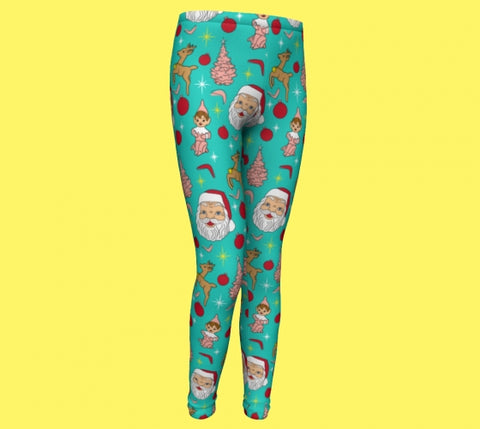 Kitschy Mint Christmas Youth Leggings