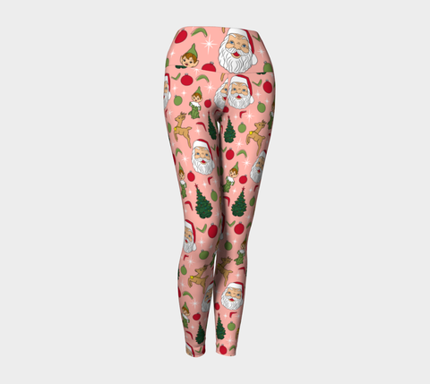 Kitschy Pink Christmas Yoga Leggings