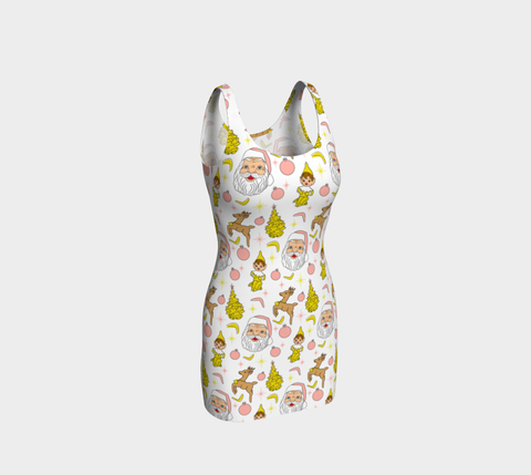 Kitschy Christmas White Bodycon Dress