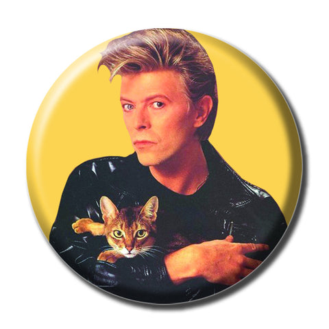 "David Bowie Holding a Cat 1.75"" Pinback Button"