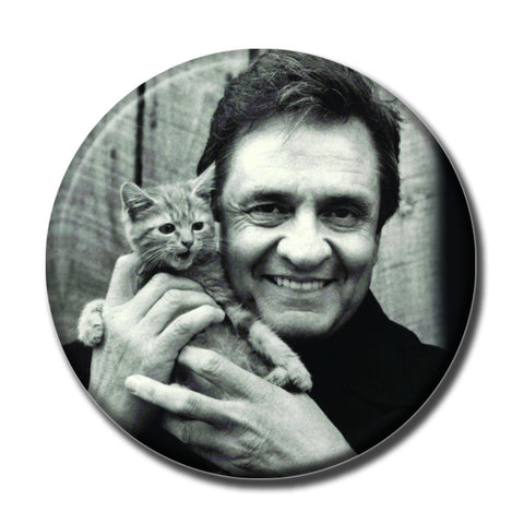 "Johnny Cash Holding a Cat 1.75"" Pinback Button"
