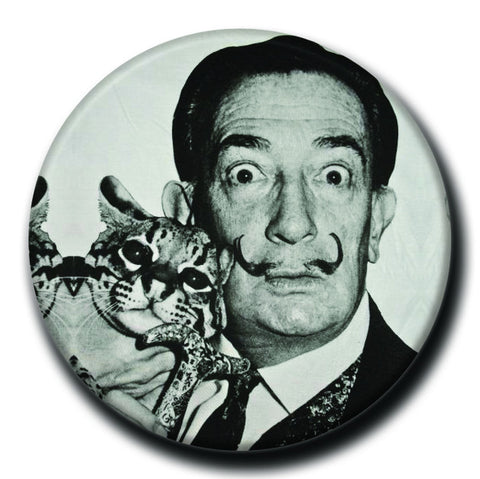 "Salvador Dali Holding a Cat 1.75"" Pinback Button"