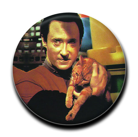 "Data Holding a Cat 1.75"" Pinback Button"