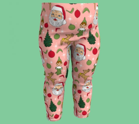Kitschy Pink Christmas Toddler Leggings