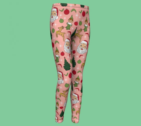 Kitschy Pink Christmas Youth Leggings