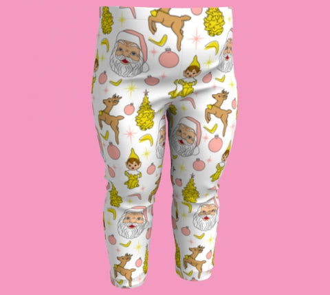 Kitschy White Christmas Toddler Leggings