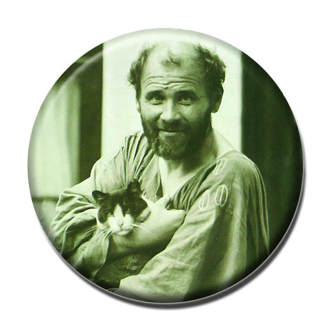 "Klimt Holding a Cat 1.75"" Pinback Button"