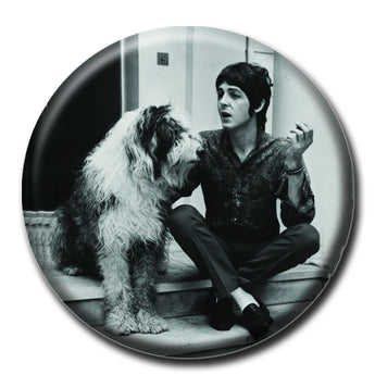 Paul McCartney holding a Dog 1.75inch Pinback Button