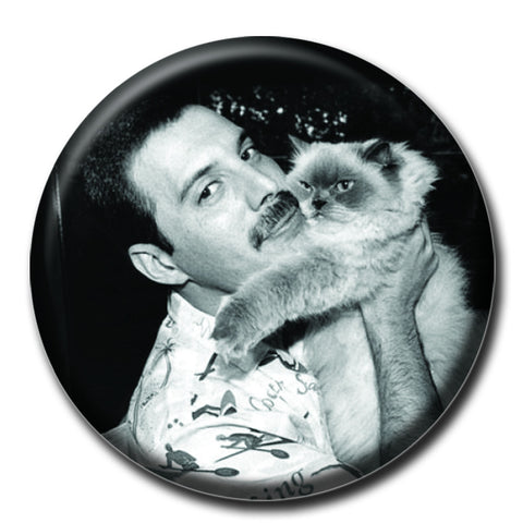 "Freddie Mercury Holding a Cat 1.75"" Pinback Button"