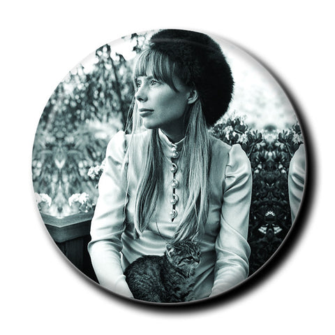 "Joni Mitchell Holding a Cat 1.75"" Pinback Button"