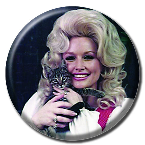"Dolly Parton Holding a Cat 1.75"" Pinback Button"
