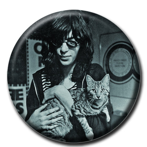 "Joey Ramone Holding a Cat 1.75"" Pinback Button"