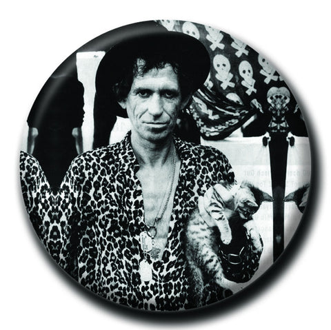 "Keith Richards Holding a Cat 1.75"" Pinback Button"