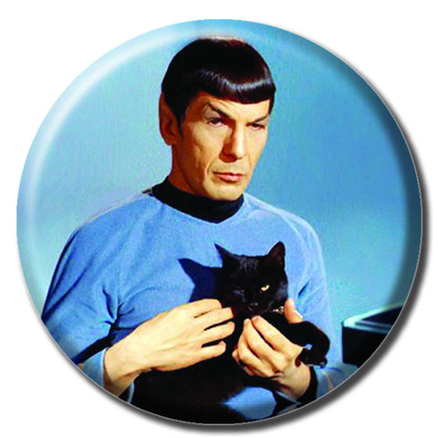 "Spock Holding a Cat 1.75"" Pinback Button"