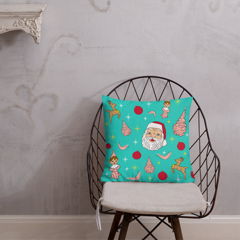 "Kitschy Mint Christmas 18"" Premium Pillow"