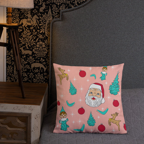"Kitschy Pink Christmas 18"" Premium Pillow"