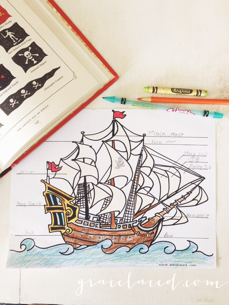 The Anatomy Of A Pirate Ship Coloring Sheet Free Printable