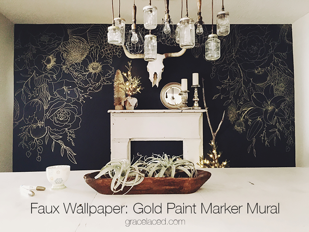 faux wallpaper gold paint marker mural with