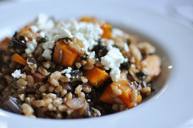 Farro with Figs, Roasted Butternut Squash, and Kale