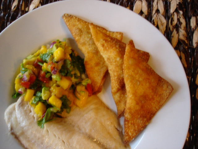 Baked Tilapia with Mango Salsa and Cream Cheese Wontons