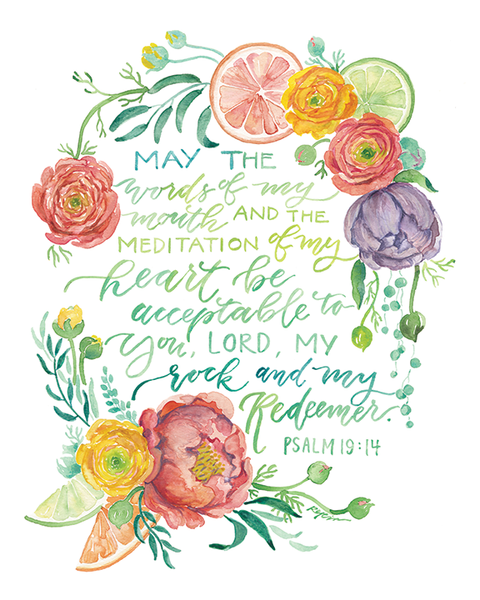 May The Words of My Mouth Psalm 19:14 print from GraceLaced