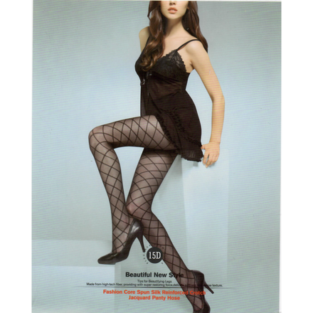 12D Black Checker Jacquard Pantyhose