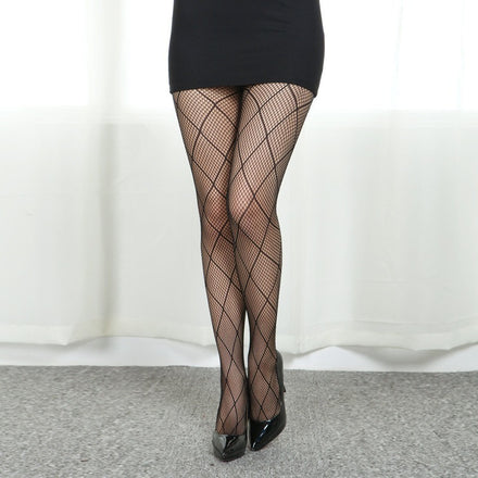 Sexy Black Big Diamond Checker Pattern Fishnet Pantyhose