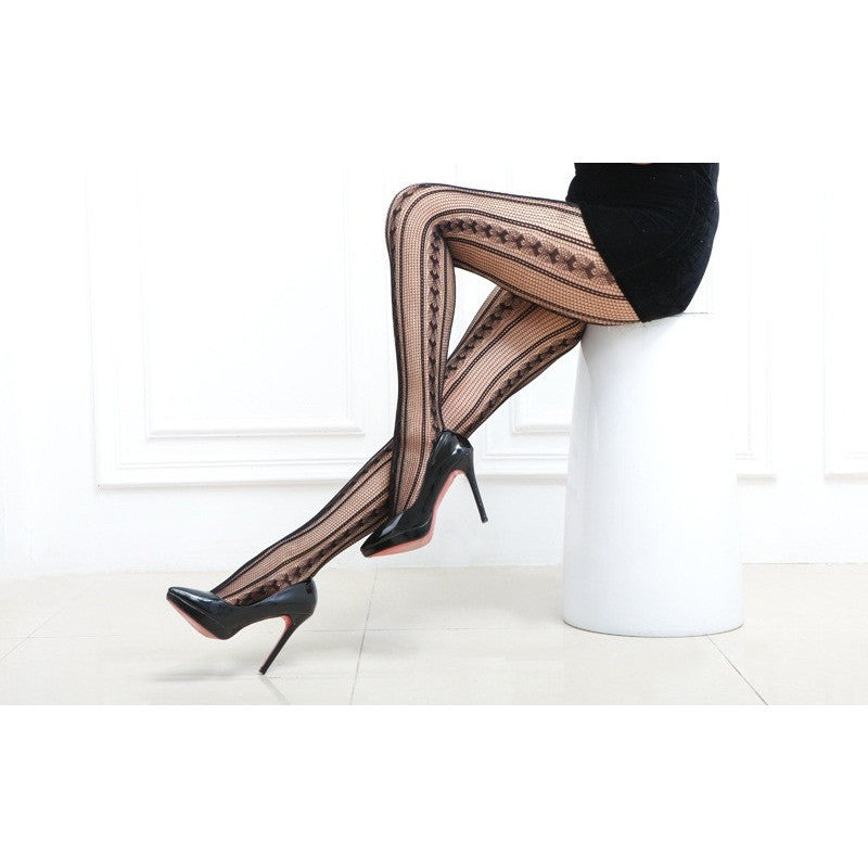 Sexy trendy Black Open Mesh Fishnet Arrow Pattern Pantyhose Toronto