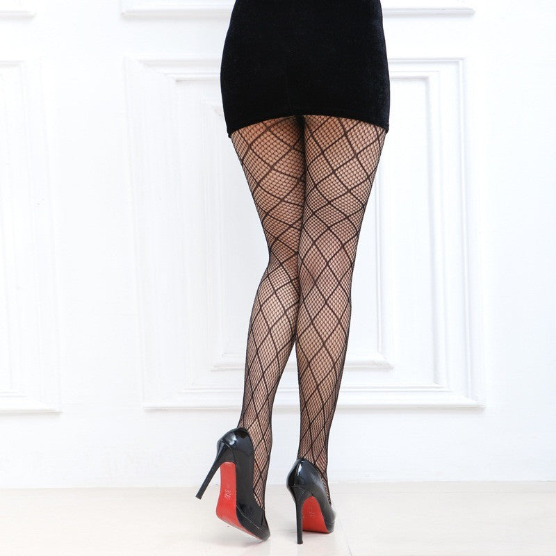 Sexy Black Medium Diamond Checker Pattern Fishnet Pantyhose Toronto